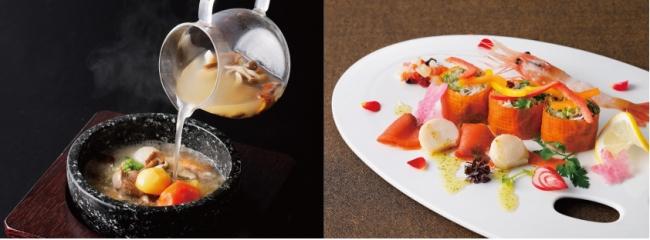 左:北海道産牛ヒレ肉と秋の味覚の石鍋仕立て 右:野菜シートを使った帆立とサーモンのソフトスモーク サラダ仕立て