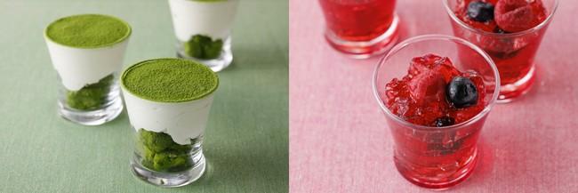[左]抹茶パルフェ [右)クランベリーのジュレ