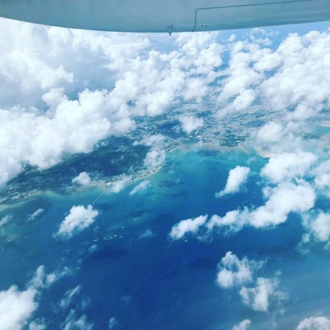 空から見下ろす与論島