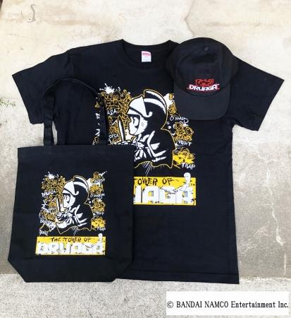 ドルアーガの塔 Tシャツ:¥4,000+tax トートバッグ¥2,500+tax ロゴ刺繍キャップ¥5,900+tax(designed by MESSA STORE)