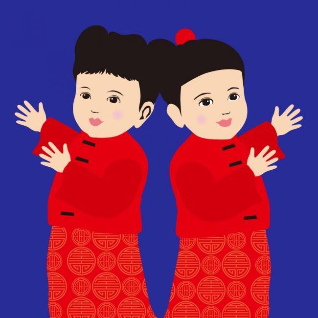南京町のキャラクター「財財、來來」