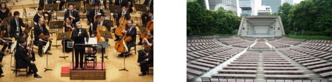 (左)『ドラゴンクエスト・コンサート』の様子 (右)日比谷公園大音楽堂