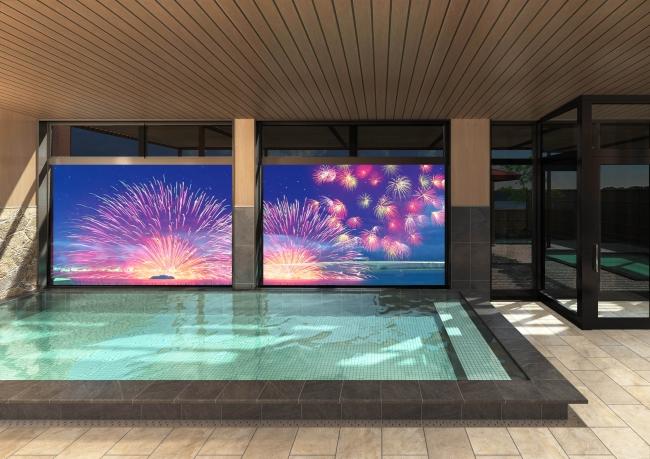 ※掲載画像は大浴場から見たプロジェクションマッピング演出事例のイメージです。  三ヶ日の夏の風物詩ともいえる湖上花火や景色など幻想的な映像をお楽しみいただけます。