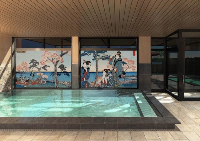 ※掲載画像は大浴場から見たプロジェクションマッピング演出事例のイメージです。