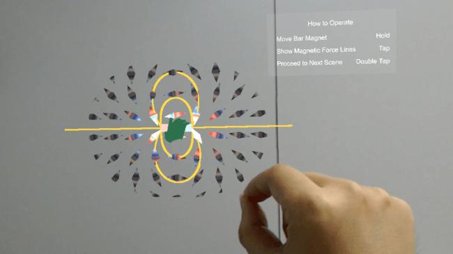 目で見ることのできない磁界をアプリによって見ることができる(2次元)