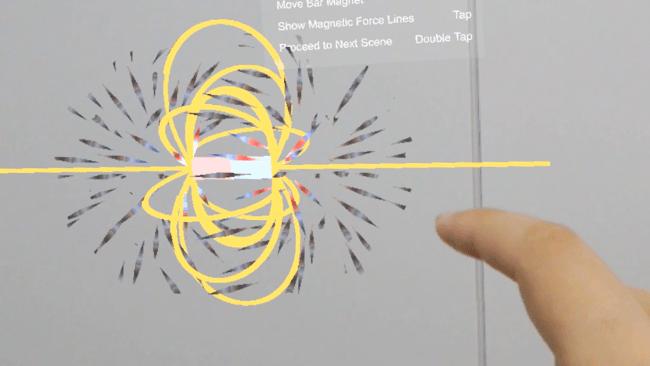 目で見ることのできない磁界をアプリによって見ることができる(3次元)