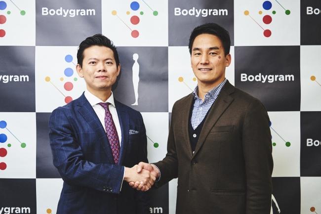 左:Bodygram CEO Jin Koh (ジン・コー) 氏, 右:Bodygram 公式アンバサダー 松田丈志氏