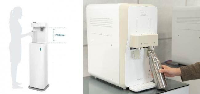 左:給水スポットに最適な常温水モデル「ナノスタンド」 右:利用者のニーズに応える冷水モデルもラインナップ