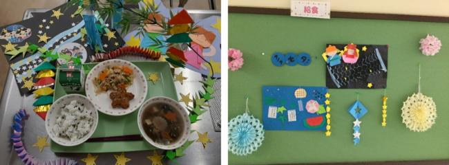 現場の調理担当者が七夕の飾りも願いを込めて手作りしました
