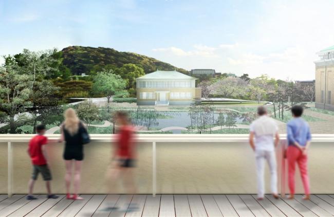 東山キューブから眺める日本庭園