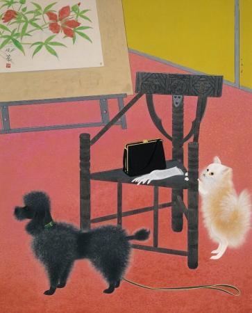 金島桂華《画室の客》