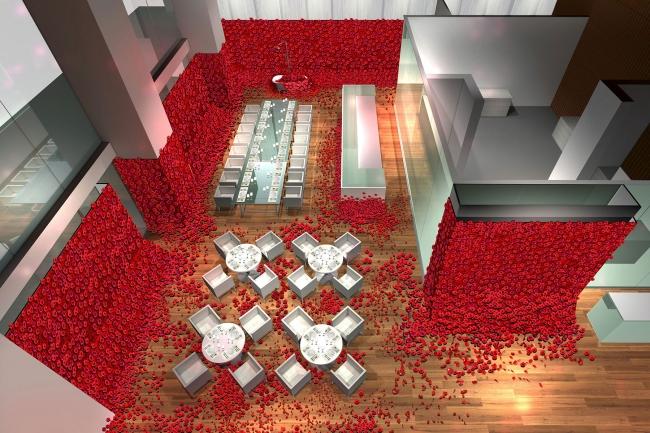 血をイメージした4万本の薔薇に包まれたレストラン空間。 足元にも花びらを配置し、薔薇の中で食事をお楽しみ頂けます。