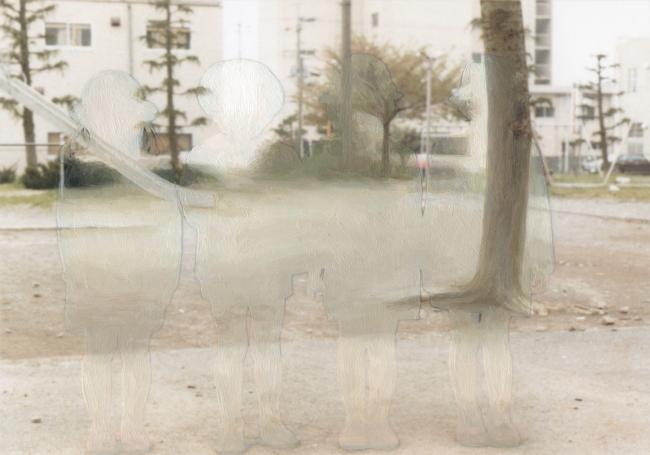 《Background #22》 2013年 写真に油彩