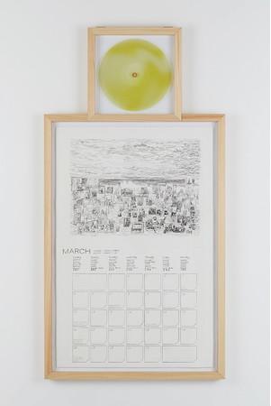 《ヨハネス・フェルメールのスタジオ-3月》 木炭、紙、LPレコード(日高理樹による《ヨハネス・フェルメールのスタジオ-3月》および桑久保徹のための楽曲入り) 2016年 作家蔵