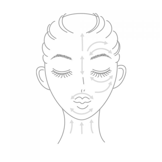 2.矢印のように顔全体になじませます。