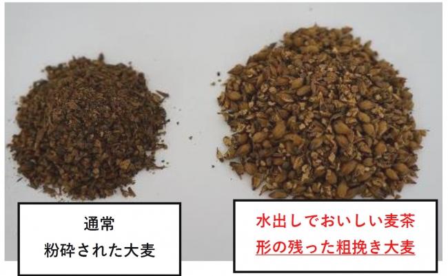 <粉砕後の大麦粒度比較>