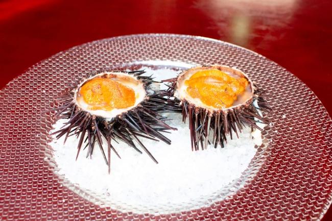 雲丹と鶉の卵のヴァプール