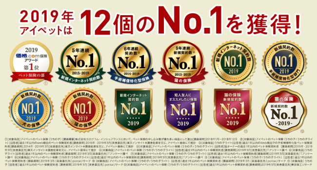 12個のNo.1を受賞