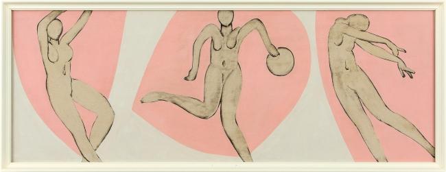 マティスののもとを訪れた直後に描かれた猪熊弦一郎作品。巨匠の影響が色濃くみられる。 猪熊弦一郎《無題》1948-49年頃 油彩、板[3枚組の一部]
