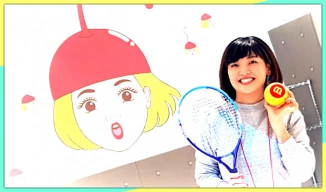 イージーテニス・イメージキャラの チェリコさんと、イラストレーター 竹井 千佳さん