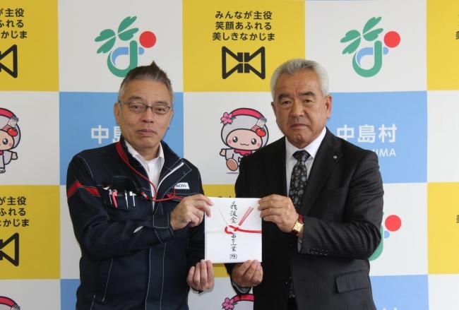 (右)福島県中島村村長 加藤幸一様 (左)富士工業白河事業所 所長代行 田上拓也