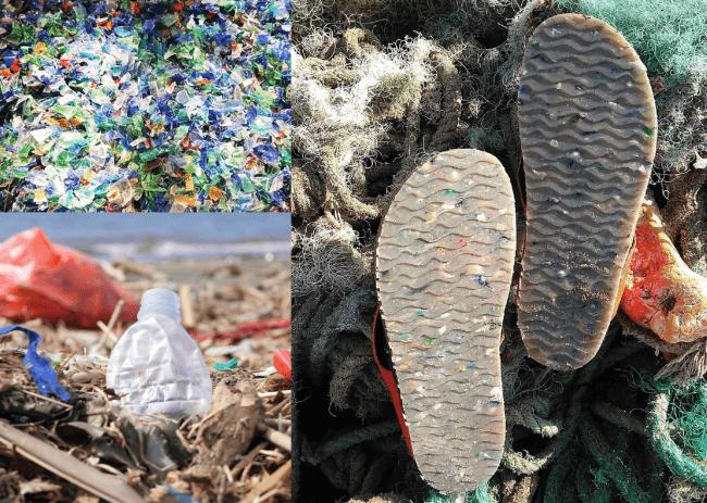 海洋プラスチックを裁断。アウトソールに採用。