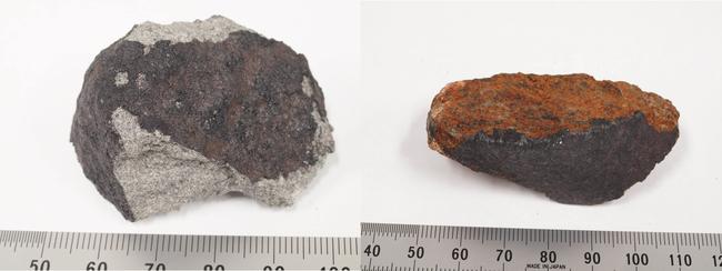 習志野隕石1号(左)と2号(右)の小片