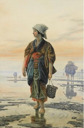笠木治郎吉《牡蠣を採る少女》個人蔵
