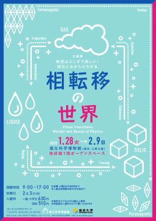 企画展「物理はふしぎで美しい!磁石と水からひろがる相転移の世界」ポスター