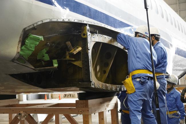 2020年1月15日 左主翼取り外し作業(6)機体側の接合部分 国立科学博物館