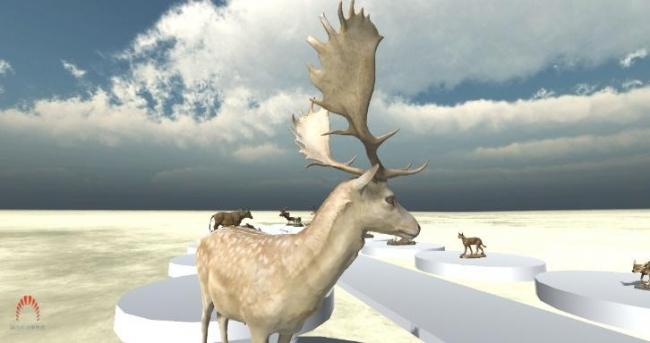 広大なバーチャル空間に24体の動物剥製が展示されています。 (国立科学博物館)