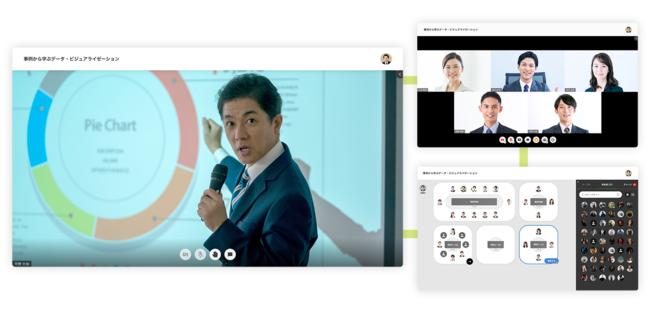 <EventInの画面イメージ(左:講演、右上:商談、右下:会場)>