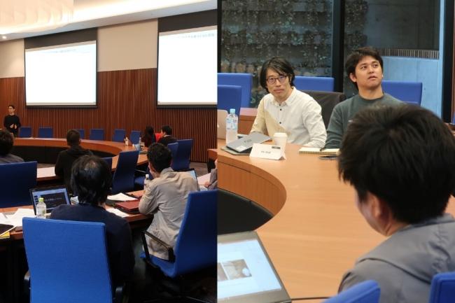 京都造形芸術大学にて、中間発表およびメンターからのフィードバックを行う様子。