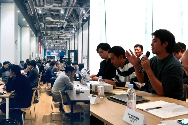 Techshop Tokyoにて、中間発表およびメンターからのフィードバックを行う様子