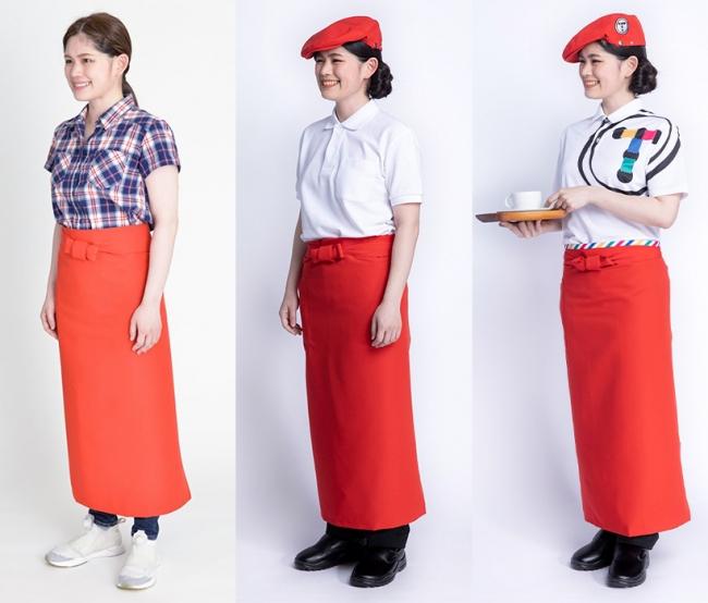 フードメディア(FoodMedia)が提供する左から:私服に共通のエプロン着用、既製品のユニフォームを着用、既製品にカスタマイズしたユニフォームを着用