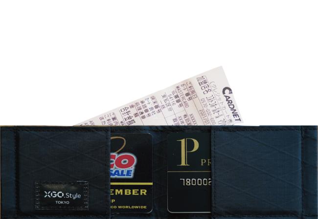 カードのほか、レシートなども収納可能