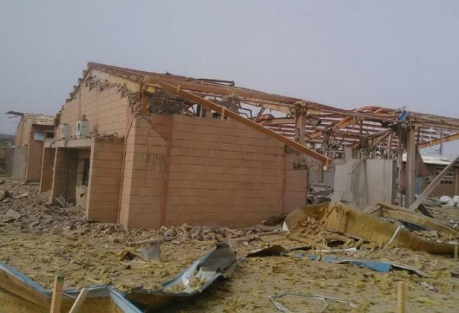 攻撃を受けたMSFのコレラ治療センターの建物(2018年6月撮影)(C) MSF