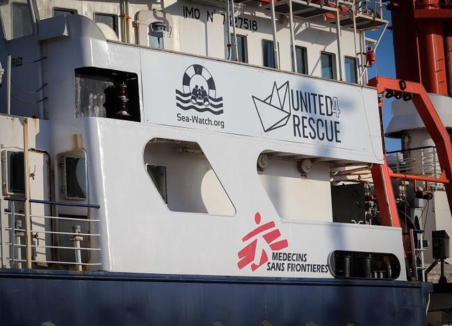 United4Rescueが海難捜索・救助船に改造した「シーウォッチ4号」=スペイン・ブリアナ港で8月5日撮影 (C) Hannah Wallace Bowman/MSF
