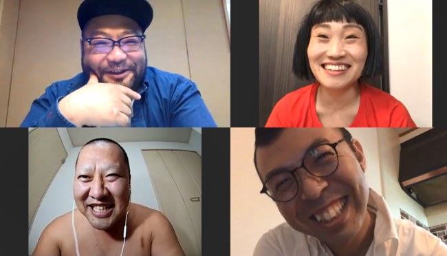 (左上から時計回りに)著者の山田ルイ53世さん、キンタロー。さん、ジョイマン高木さん、とにかく明るい安村さん