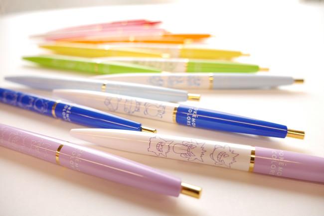 ボールペン/シャープペン それぞれ全8種 各385円 カラフルで可愛いアンテリックのボールペンとシャープペンです。