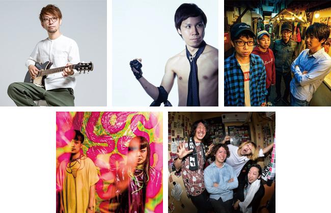 写真上段左から、「Satoshi Shibayama(from soulkids)」、「ヤジマX(from モーモールルギャバン)」、「THE BOOGIE JACK」。下段左から、「ワッペリン」、「SILBERSTYLE」。