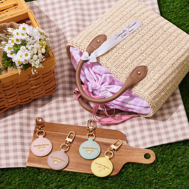 Gingham Check Basket Bag ,Mini Mirror Key Ring
