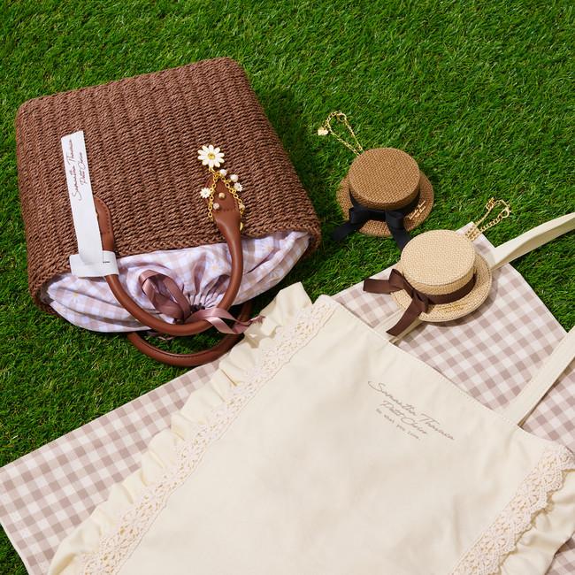 Scallop Lace Totebag,Chamomile Bag Charm,Hat Motif Mirror Bag Charm