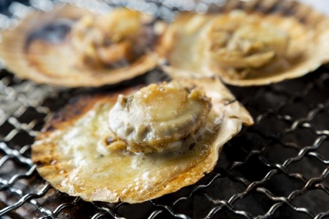 糸島産牡蠣やサザエ、ホタテなど6種の貝類を用意。イカの一夜干しやホッケなどつまみメニューも充実