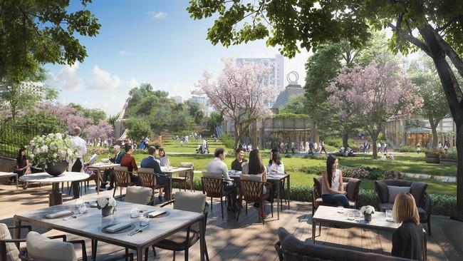 中央広場をのぞむホテルレストラン(イメージ)