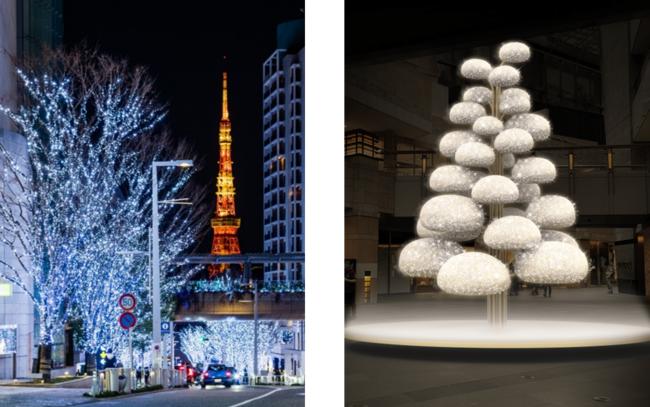 左:「けやき坂イルミネーション」(過去の様子) 右:ウエストウォーク「Bon-Bon Blossom」(イメージ)