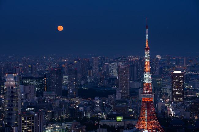スカイデッキから見える月と東京タワー ※イメージ