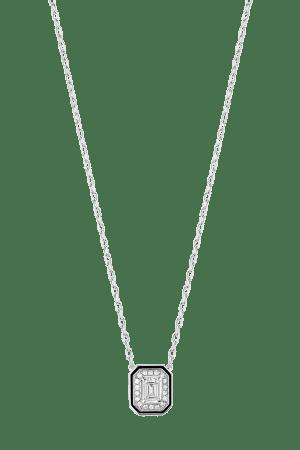 「ヴァンドーム リズレ」ペンダント 681,818円(WG, ダイヤモンド, センターストーン0.3ct、ブラックラッカー)