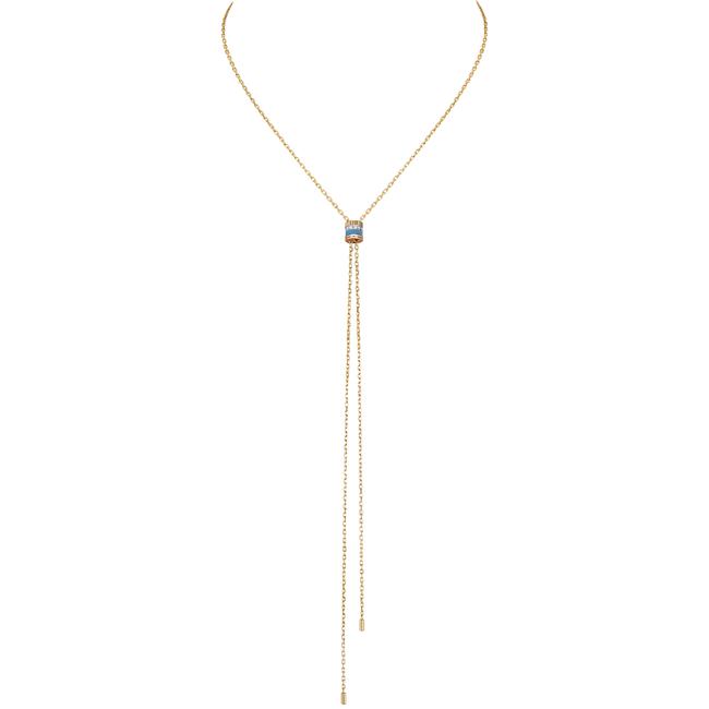 「キャトル ブルー タイネックレス スモール」 YG、WG、PG、ダイヤモンド ブルーセラミック、 チェーン長さ:75cm ¥670,000(税込/予価)