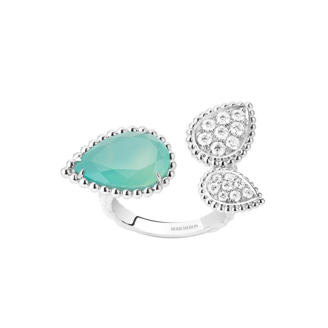 「SERPENT BOHÈME AQUAPRASE セルパンボエム 3モチーフ リング」 WG アクアプレーズ ダイヤモンド ¥1,161,600(税込)